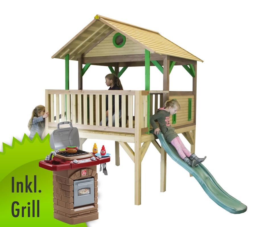 7db5942ebe Holz-Kinder-Spielturm hohes & offen Stelzen-Spielhaus Rutsche inkl.  Spielgrill
