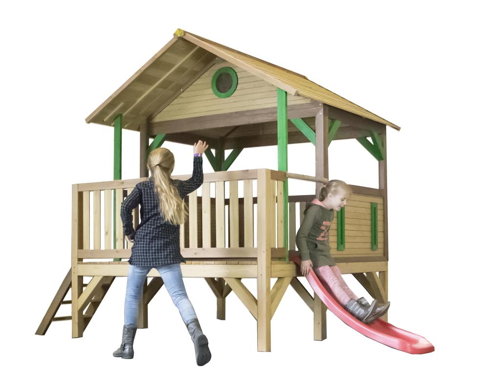 Holz Kinder Spielturm Flach Offen Stelzen Spielhaus Rutsche